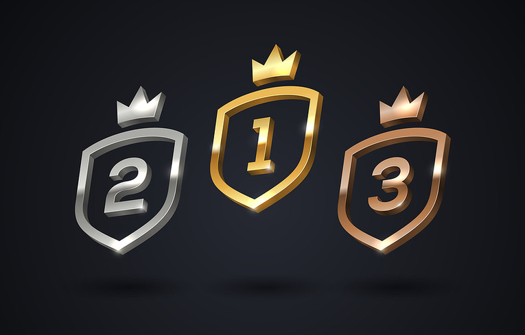 Gold, Silver and Bronze Shields