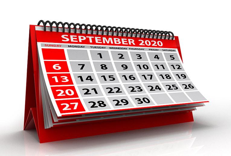 September 2020 Calendar in Red
