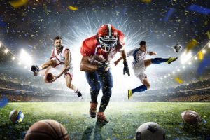 Football, Basketball and American Football Collage