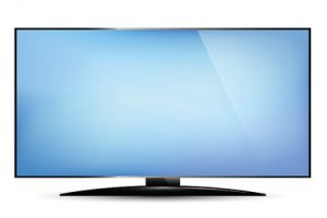 Television with Blank Blue Screen