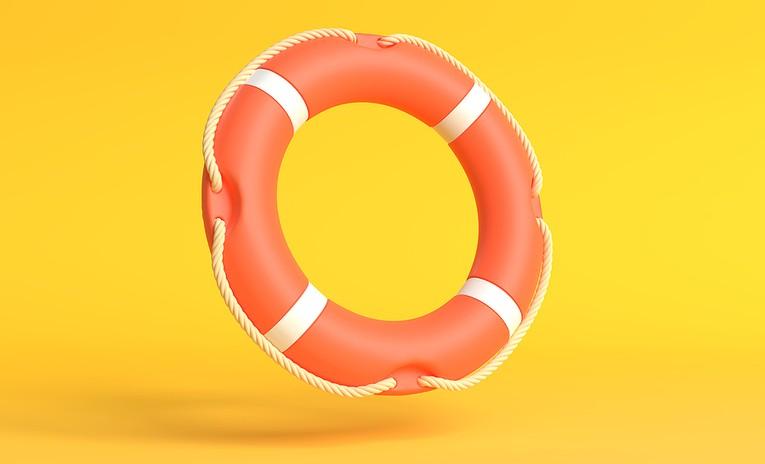 Lifebuoy Against Yellow Background