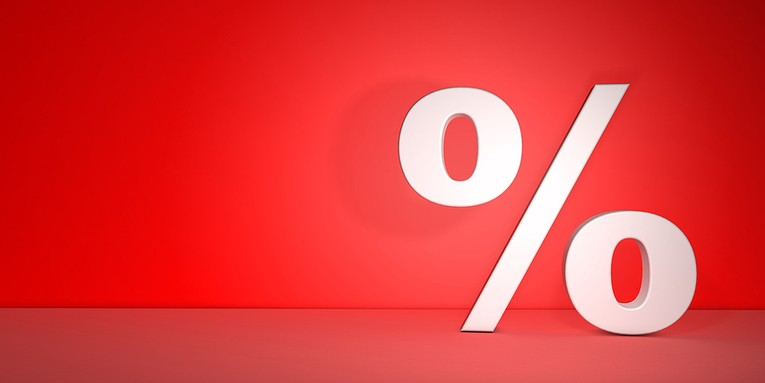 Percentage Sign Red Background