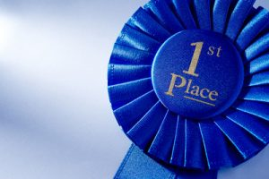 Blue First Place Rosette Close Up