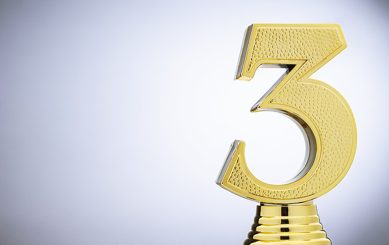 Gold Number 3 Trophy
