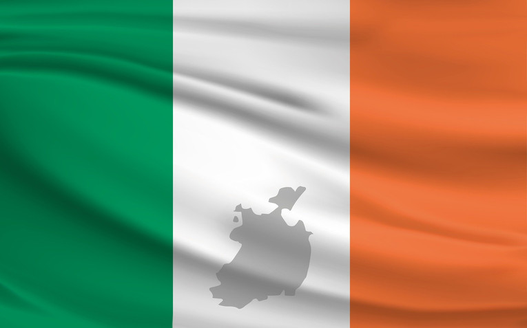 Ireland Flag with Map