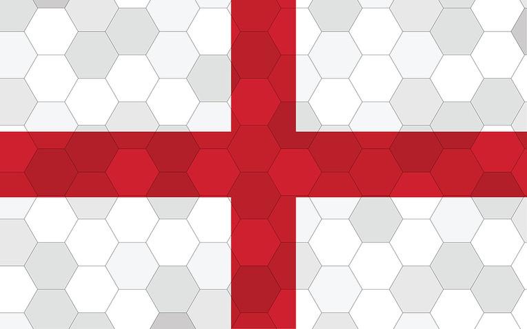 England Flag Hexagon Background