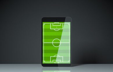 Football Pitch on Smartphone Screen