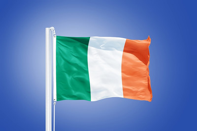 Ireland Flag Blue Background