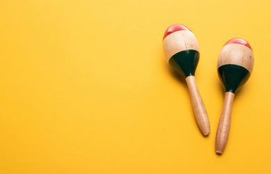 Maracas Against Yellow Background