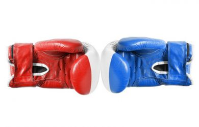 Red and Blue Boxing Gloves Isolated