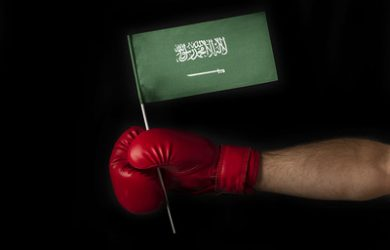 Boxer Holding Saudi Flag