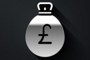 Silver Money Bag with Pound Sign