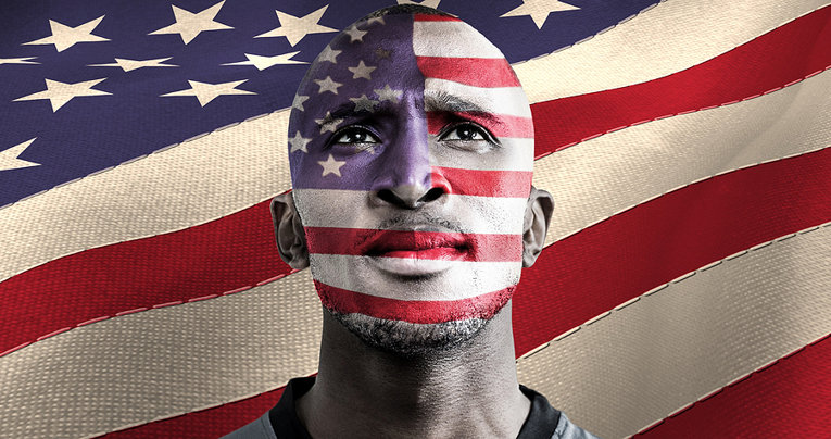American Athlete With Flag