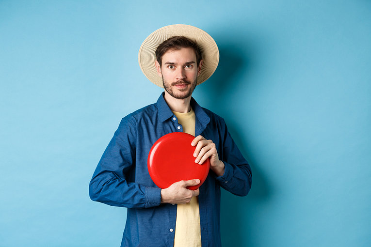 Hipster Man With Frisbee