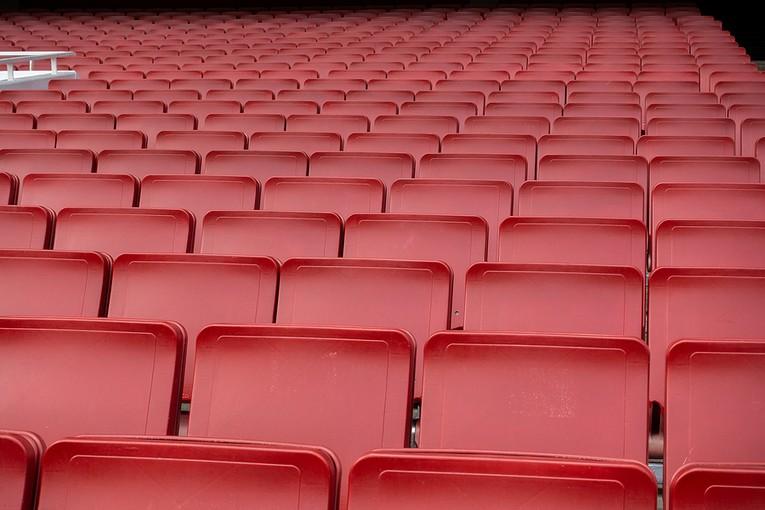 Red Empty Folding Stadium Seats