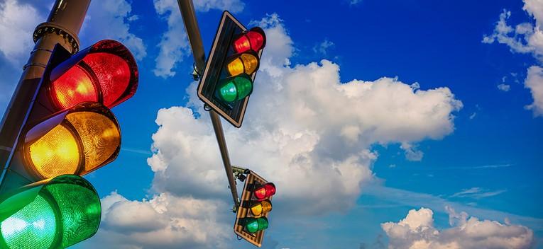 Traffic Lights Against Blue Sky