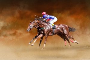 Two Isolated Horses Racing